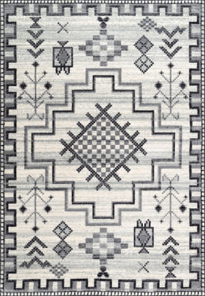 Nuloom Richelle Tribal Medallion Grey Area Rug