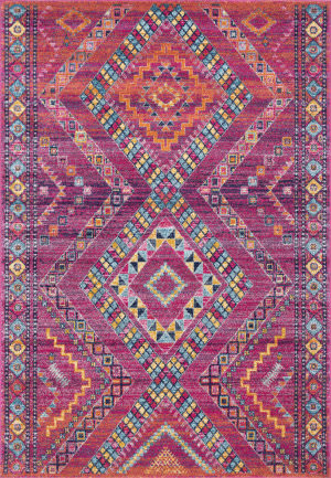 Nuloom Jina Tribal Diamonds Fuchsia Area Rug