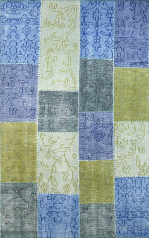 Nuloom Hand Knotted Patchwork Timmy Blue Area Rug