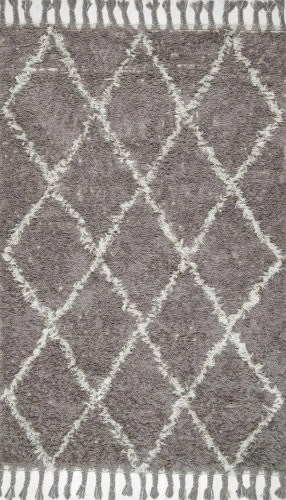Nuloom Hand Knotted Fez Shag Grey Area Rug