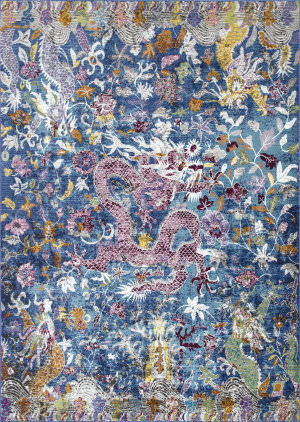 Nuloom Margo Floral Dragon Blue Area Rug