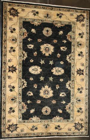 ORG Peshawar Floral Black - Gold Area Rug