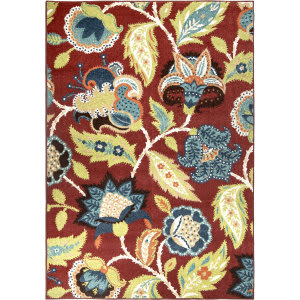 Orian Veranda Ethridge Brick Red Area Rug