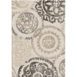 Orian Super Shag Stencil White Area Rug