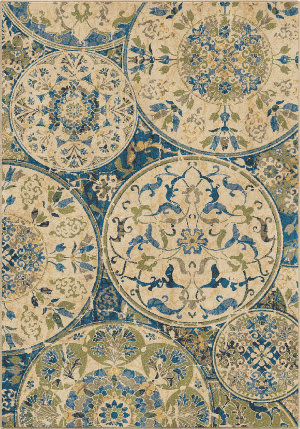 Orian Mardi Gras Ceramic Layers Light Blue Area Rug