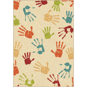 Orian Kids Court Handprints Ivory Area Rug