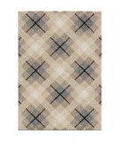 Orian Super Shag Criss Cross Plaid Ivory Area Rug