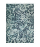 Orian Spoleto Watercolor Scroll Aqua Area Rug