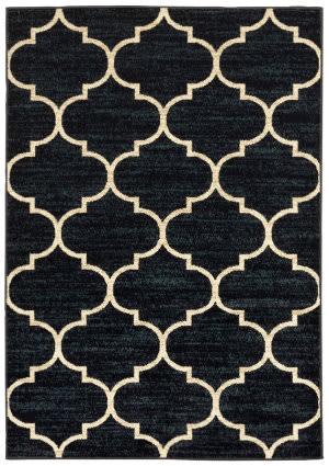 Oriental Weavers Evandale 9853b Navy - Ivory Area Rug