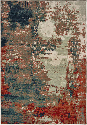 Oriental Weavers Montage 092le Blue - Rust Area Rug