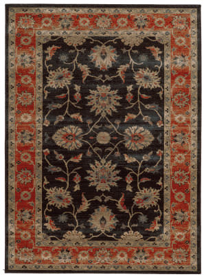 Tommy Bahama Vintage 634n2 Onyx Black/Red Area Rug