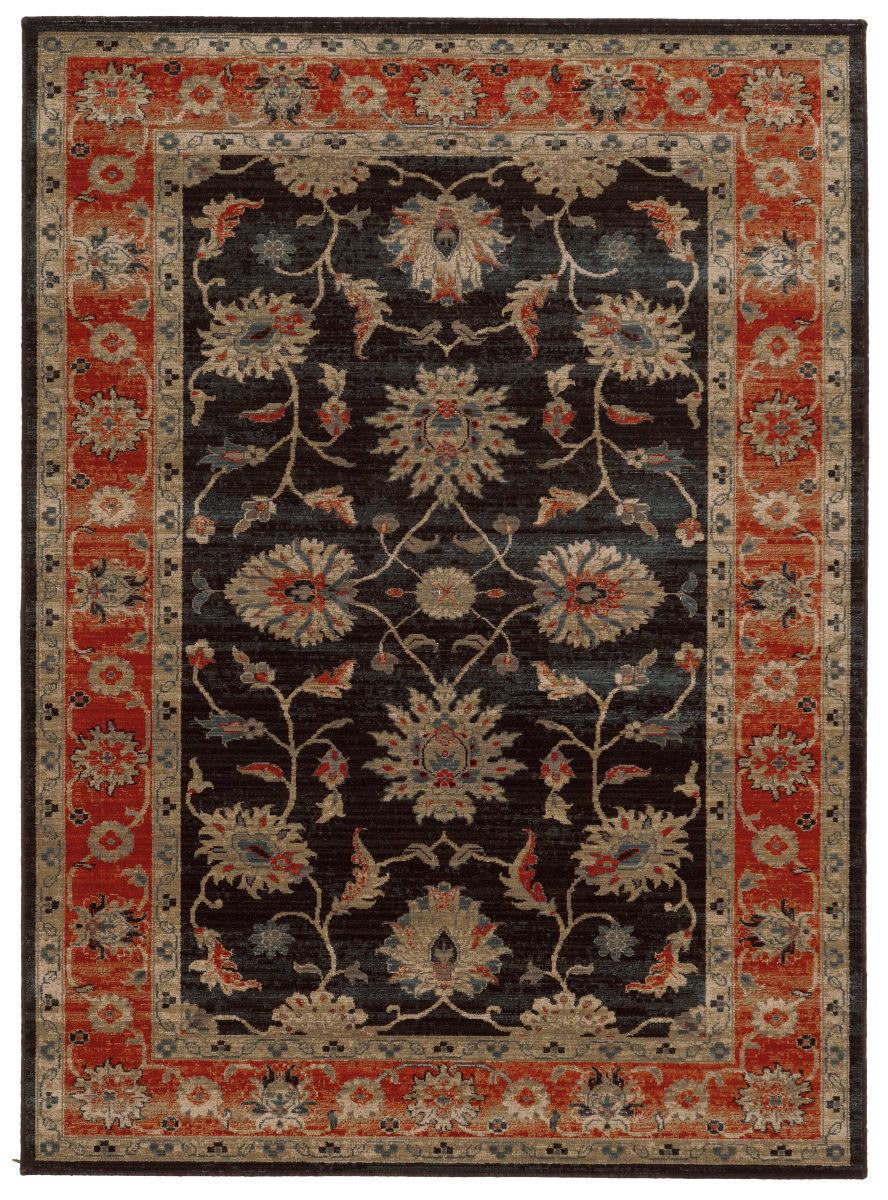Tommy Bahama Vintage 634n2 Onyx Black Red Area Rug 110407