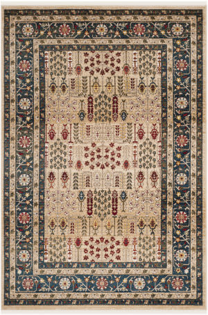 Ralph Lauren Power Loomed Lrl1297d Beige - Navy Area Rug