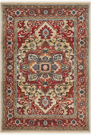 Ralph Lauren Power Loomed Lrl1298c Red - Beige Area Rug