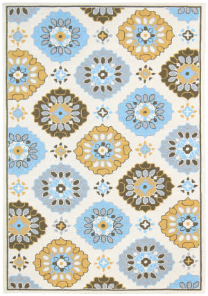 Ramerian Pietra 5700-PAZ Yellow-Blue Area Rug