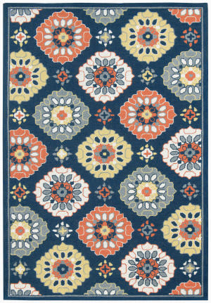 Ramerian Pietra 5800-PAZ Blue-Orange Area Rug