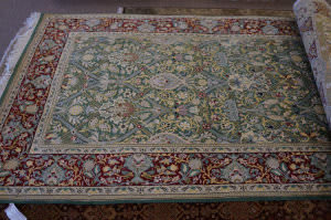 Rugstudio Sample Sale Wm.morris Light Green - Red Area Rug