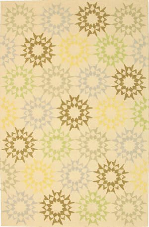 Martha Stewart Block Quilt MSR1843A CREME Area Rug