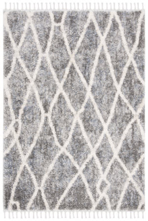 Safavieh Berber Fringe Shag Bfg628m Dark Grey - Cream Area Rug