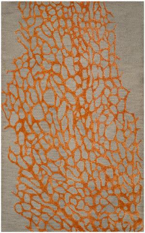 Safavieh Blossom Blm695c Grey - Orange Area Rug