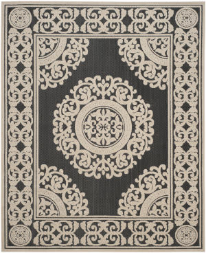 Safavieh Cottage Cot924e Black - Creme Area Rug