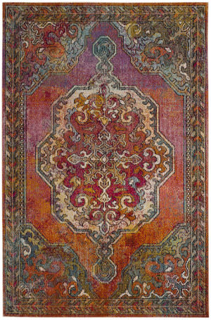 Safavieh Crystal Crs502a Orange - Light Blue Area Rug