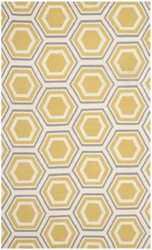 Safavieh Dhurries Dhu202a Ivory / Yellow Area Rug