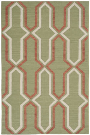 Safavieh Dhurries Dhu559c Green / Rust Area Rug