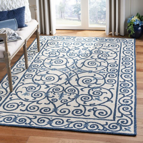 Blue And White Floral Rug At Rug Studio
