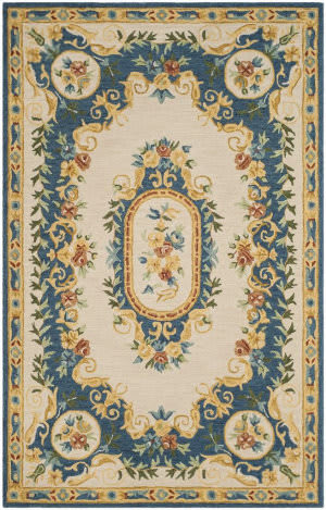 Safavieh Micro-Loop Mlp601a Cream - Blue Area Rug