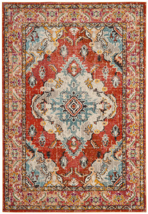 Safavieh Monaco Mnc243h Orange - Light Blue Area Rug