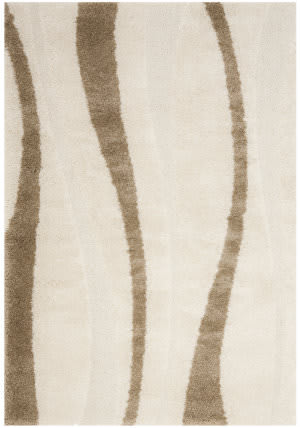 Safavieh Florida Shag Sg451-1128 Cream / Dark Brown Area Rug