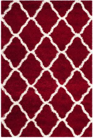 Safavieh Hudson Shag Sgh283r Red - Ivory Area Rug