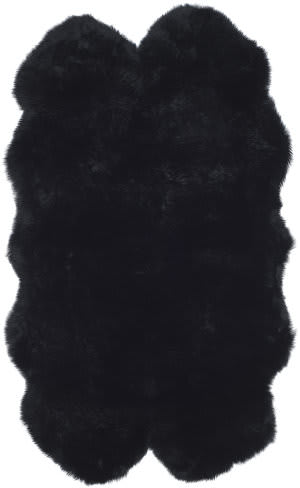 Safavieh Sheepskin Shag Shs121c Midnight Black Area Rug
