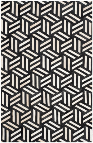 Safavieh Studio Leather Stl219a Ivory - Black Area Rug