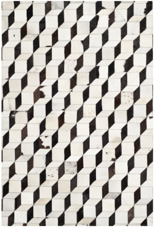 Safavieh Studio Leather Stl513a Black - Grey Area Rug