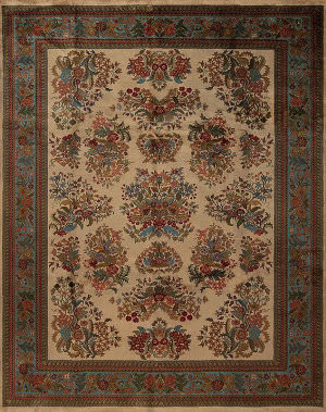 Samad British Raj 2000 York Ivory - Blue Area Rug