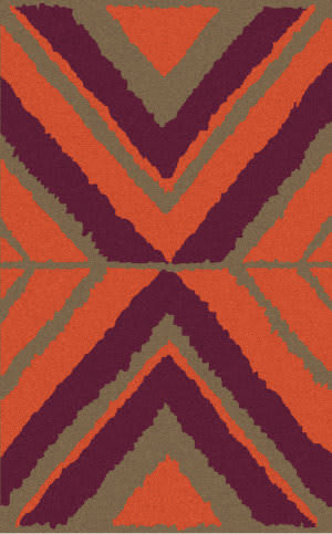 Surya Calaveras CAV-4005 Eggplant / Burnt Orange Area Rug