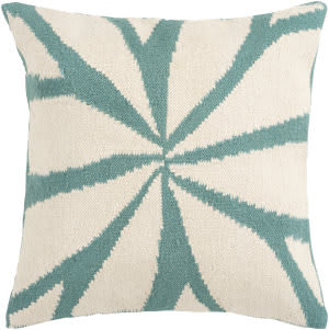 Surya Pillows FA-003 Turquoise/Ivory