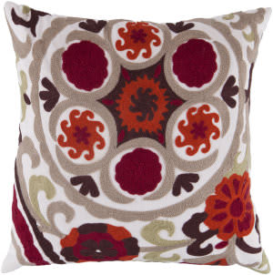 Surya Botanical Pillow Ff-028 Red/Taupe