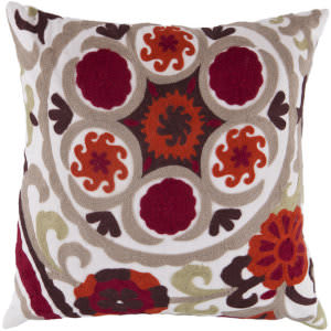Surya Pillows FF-028 Burgundy/Taupe