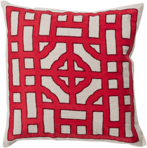 Surya Chinese Gate Pillow Ld-049 Red