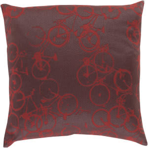 Surya Pedal Power Pillow Pdp-006 Burgundy
