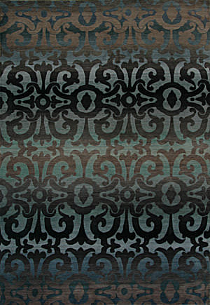 Tibet Rug Company 100 Knot Premium Tibetan Wrought Iron Blue Area Rug