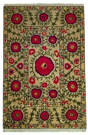 Tibet Rug Company 60 Knot Premium Tibetan Poppies Beige Area Rug
