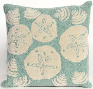 Trans-Ocean Frontporch Pillow Shell Toss 1408/04 Aqua Area Rug