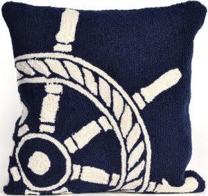 Trans-Ocean Frontporch Pillow Ship Wheel 1456/33 Navy Area Rug