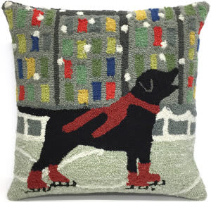 Trans-Ocean Frontporch Pillow Holiday Ice Dog 1526/24 Red Area Rug