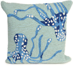 Trans-Ocean Frontporch Pillow Octopus 1677/04 Aqua