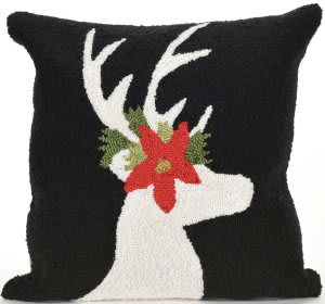 Trans-Ocean Frontporch Pillow Reindeer 1818/48 Black Area Rug